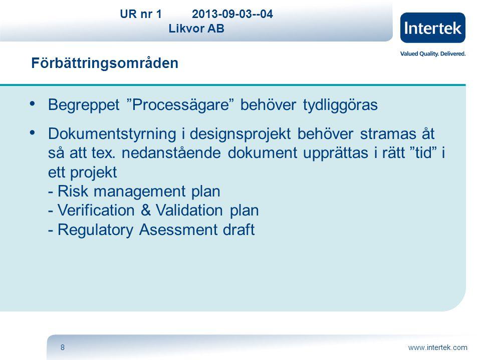 """UR nr 12013-09-03--04 Likvor AB www.intertek.com8 Förbättringsområden Begreppet """"Processägare"""" behöver tydliggöras Dokumentstyrning i designsprojekt b"""