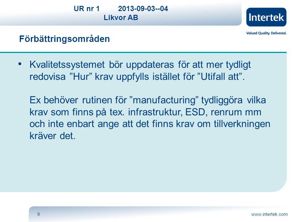 """UR nr 12013-09-03--04 Likvor AB www.intertek.com9 Förbättringsområden Kvalitetssystemet bör uppdateras för att mer tydligt redovisa """"Hur"""" krav uppfyll"""