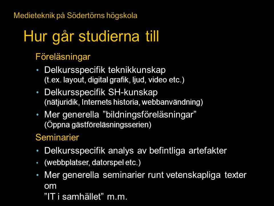 Föreläsningar Delkursspecifik teknikkunskap (t.ex. layout, digital grafik, ljud, video etc.) Delkursspecifik SH-kunskap (nätjuridik, Internets histor