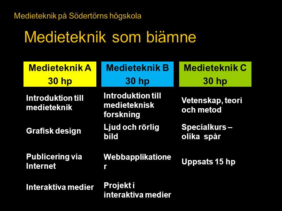 Projekt i interaktiva medier Interaktiva medier Webbapplikatione r Publicering via Internet Ljud och rörlig bild Grafisk design Introduktion till medi