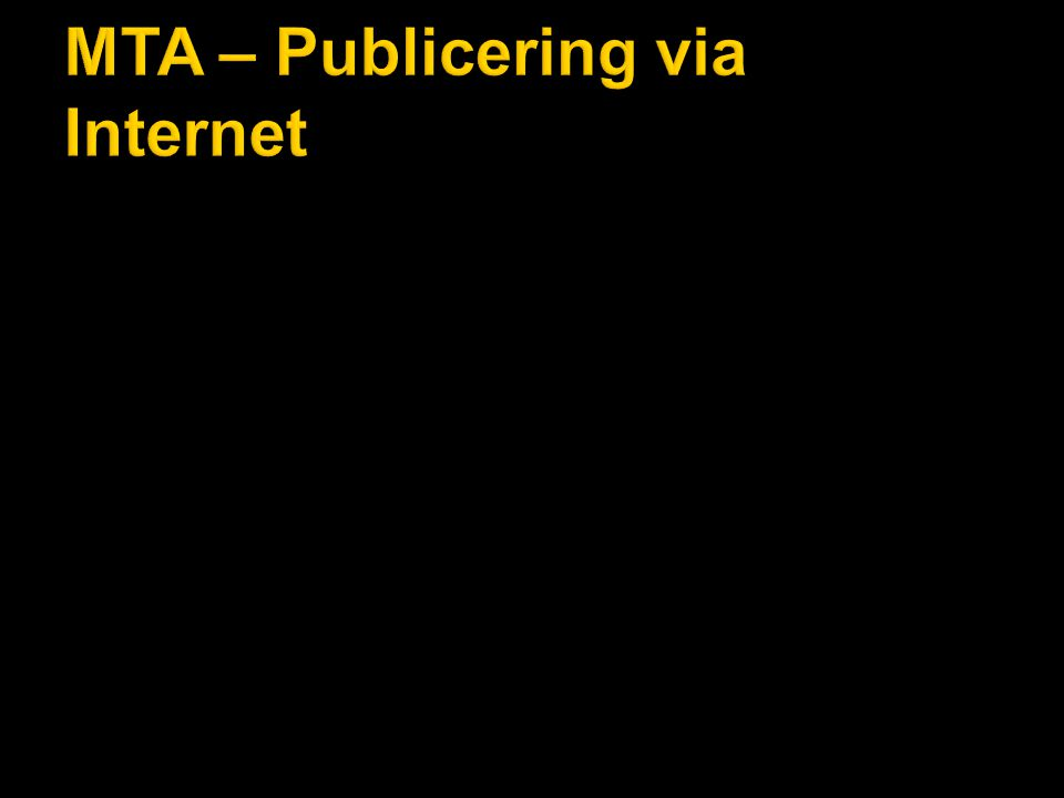 MTA – Publicering via Internet