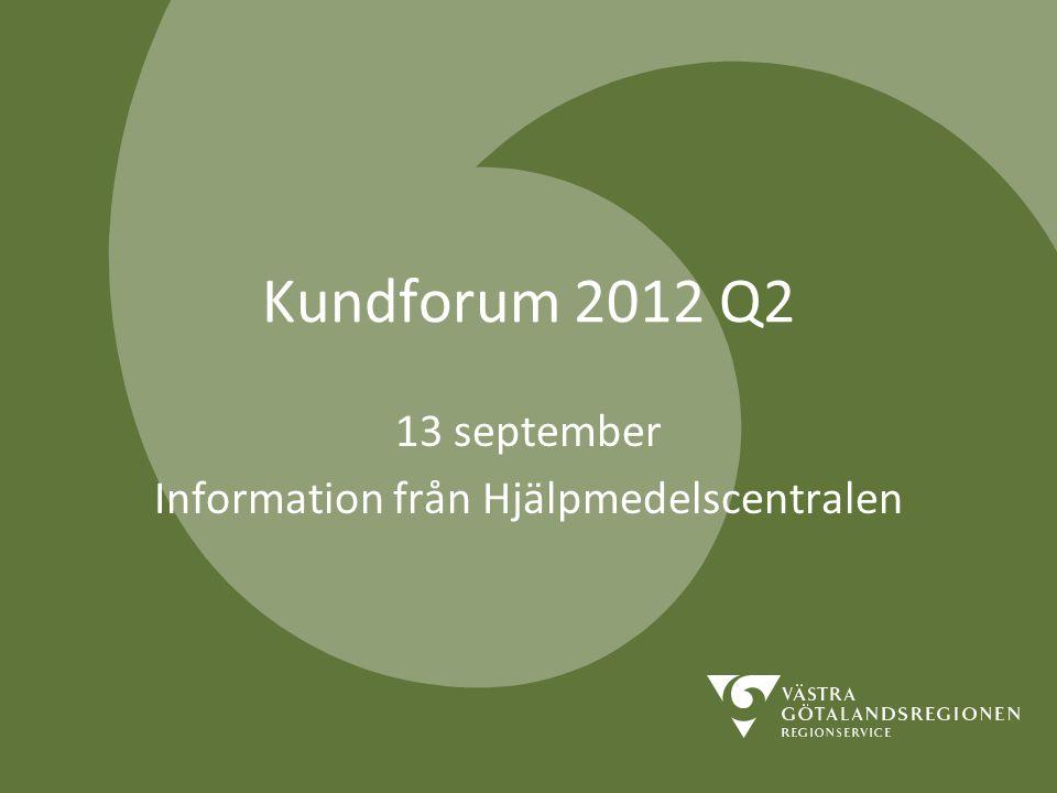 Kundforum 2012 Q2 13 september Information från Hjälpmedelscentralen