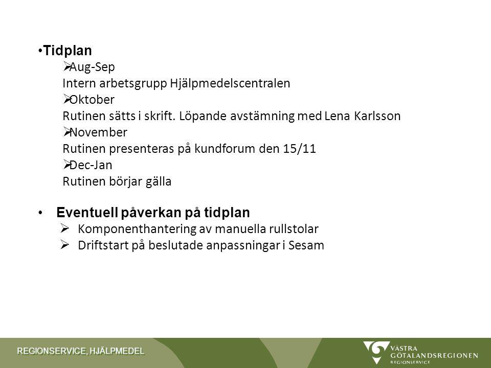 REGIONSERVICE, HJÄLPMEDEL Tidplan  Aug-Sep Intern arbetsgrupp Hjälpmedelscentralen  Oktober Rutinen sätts i skrift. Löpande avstämning med Lena Karl