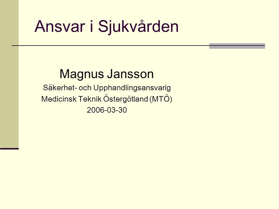 Ansvar i Sjukvården Magnus Jansson Säkerhet- och Upphandlingsansvarig Medicinsk Teknik Östergötland (MTÖ) 2006-03-30