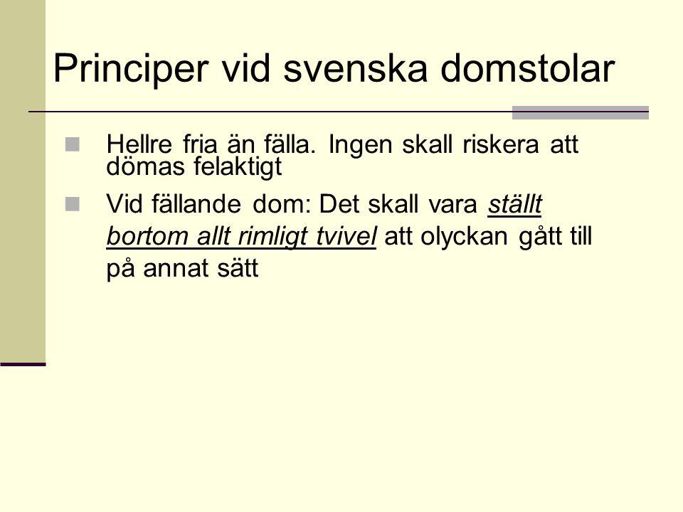 Principer vid svenska domstolar Hellre fria än fälla.