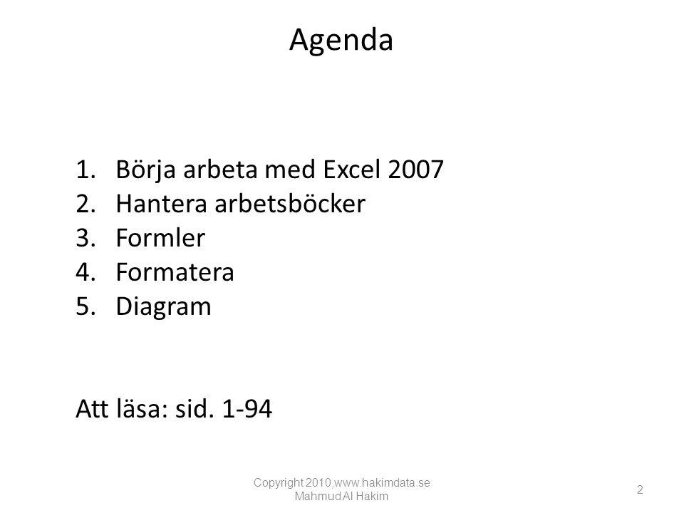 Agenda 1.Börja arbeta med Excel 2007 2.Hantera arbetsböcker 3.Formler 4.Formatera 5.Diagram Att läsa: sid.