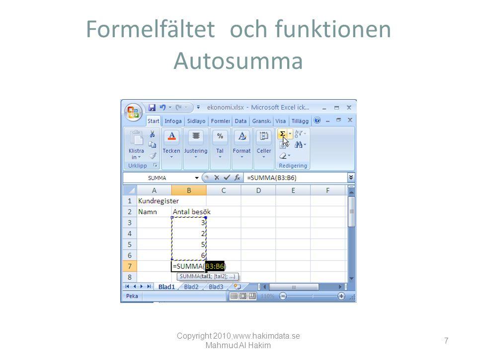 Formelfältet och funktionen Autosumma Copyright 2010,www.hakimdata.se Mahmud Al Hakim 7