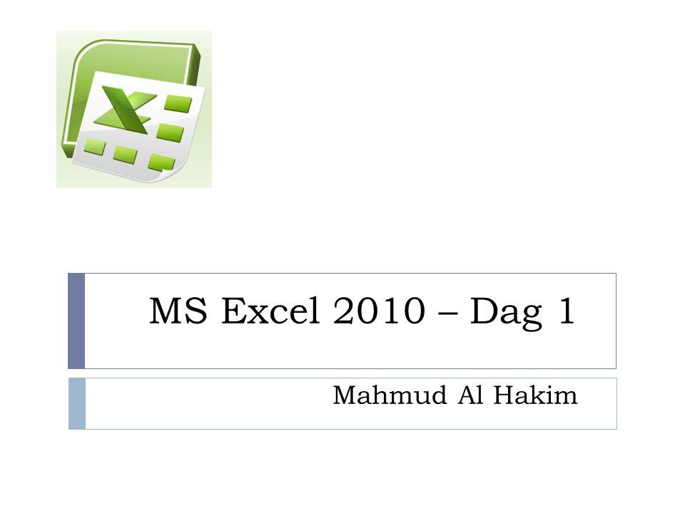 MS Excel 2010 – Dag 1 Mahmud Al Hakim