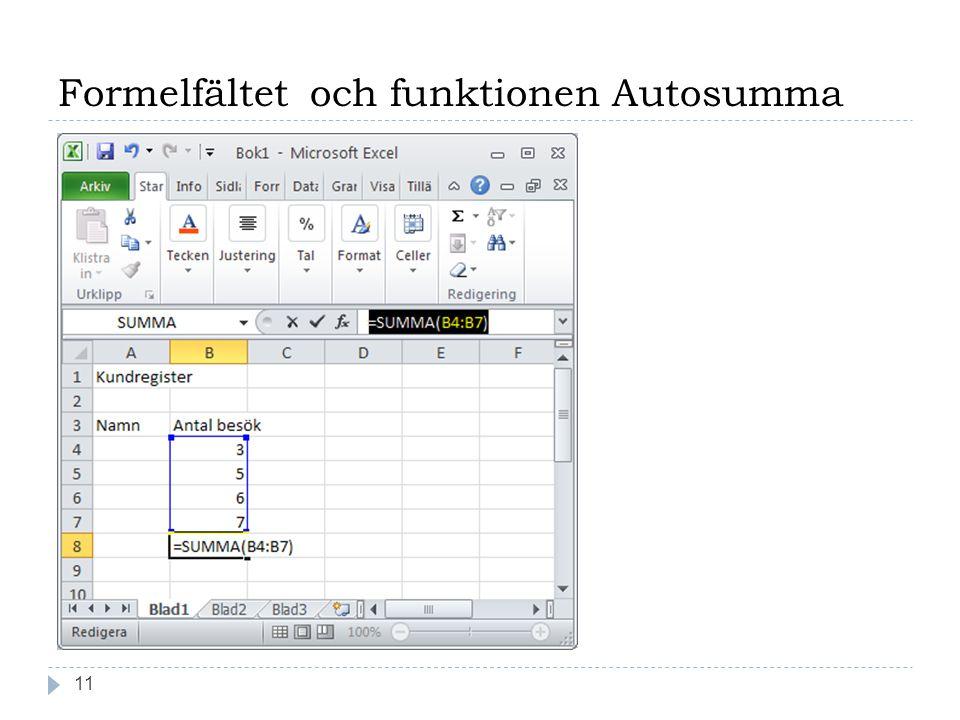 Formelfältet och funktionen Autosumma 11