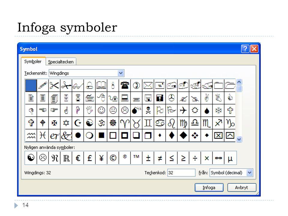 Infoga symboler 14