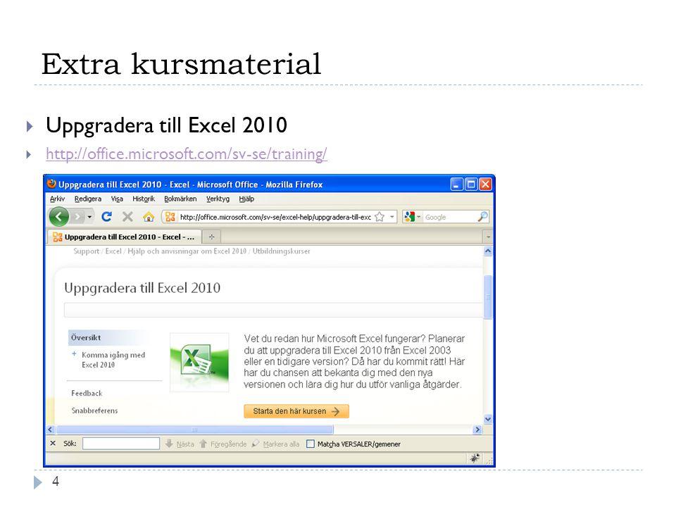 Extra kursmaterial 4  Uppgradera till Excel 2010  http://office.microsoft.com/sv-se/training/ http://office.microsoft.com/sv-se/training/