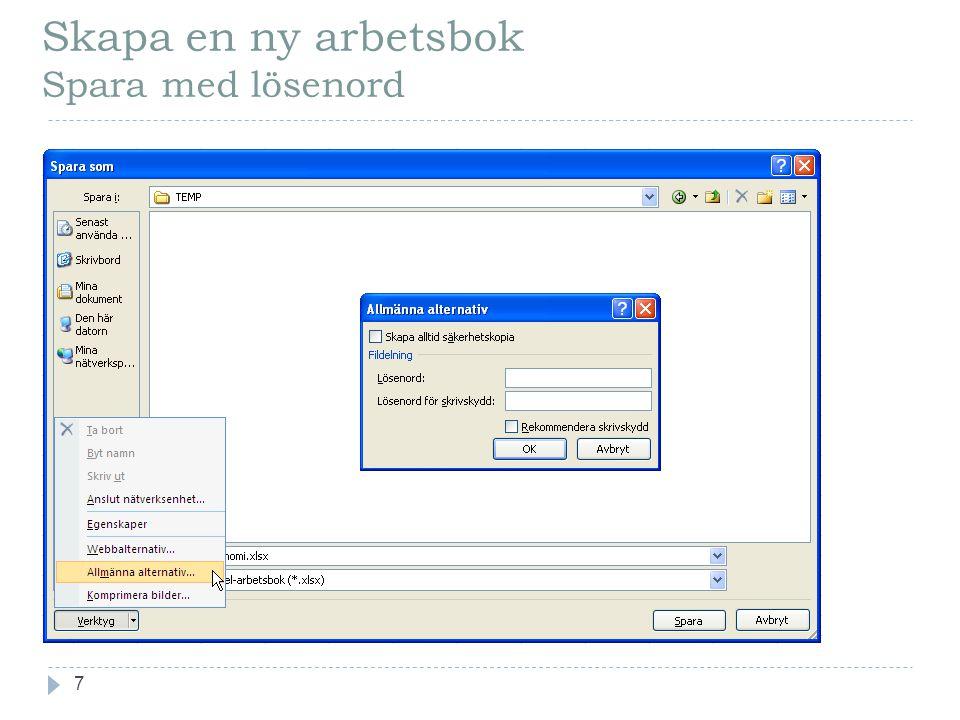 Skapa en ny arbetsbok Spara med lösenord 7