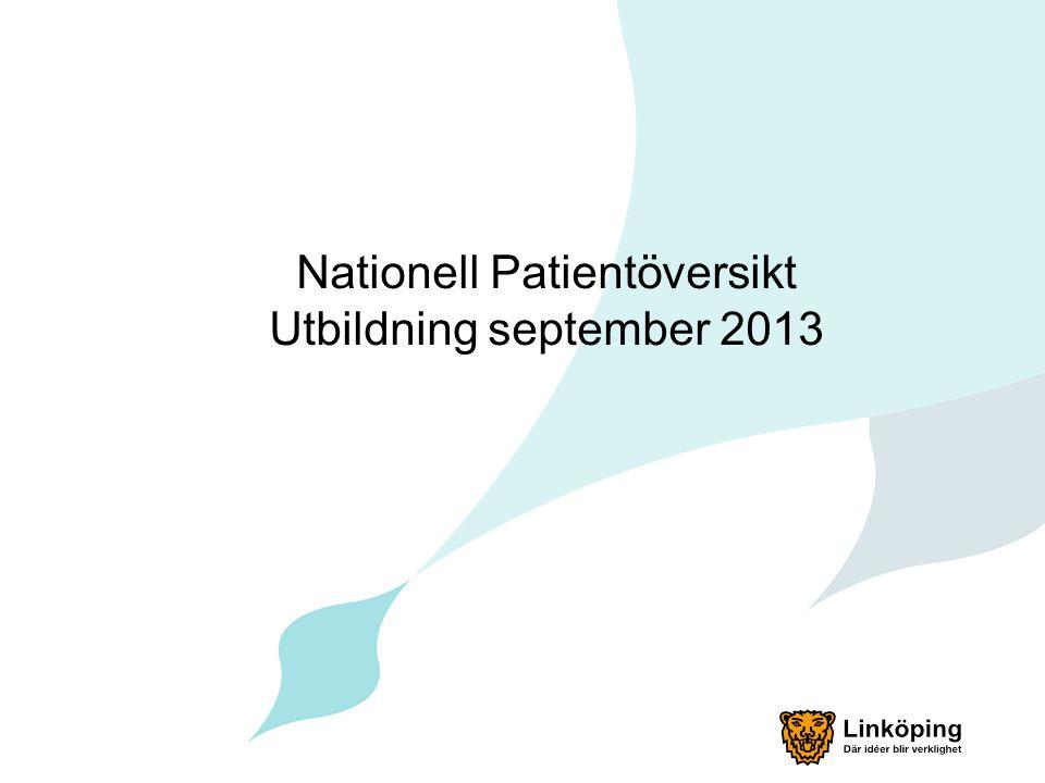 Linköpings kommun och NPÖ Linköping ska börja som konsument september 2013 Landstinget i Östergötland har börjat som producent sedan 1 maj 2012 Ordinarie sjuksköterskor, arbetsterapeuter och sjukgymnaster i kommunen får tillgång till NPÖ i första etappen.