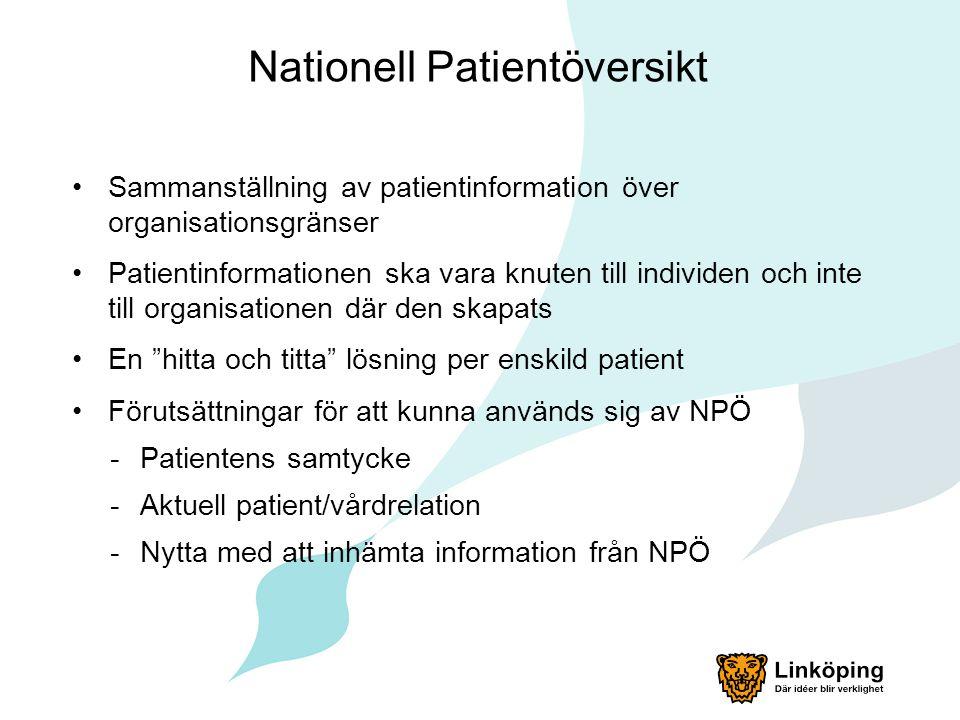Nationell Patientöversikt Sammanställning av patientinformation över organisationsgränser Patientinformationen ska vara knuten till individen och inte