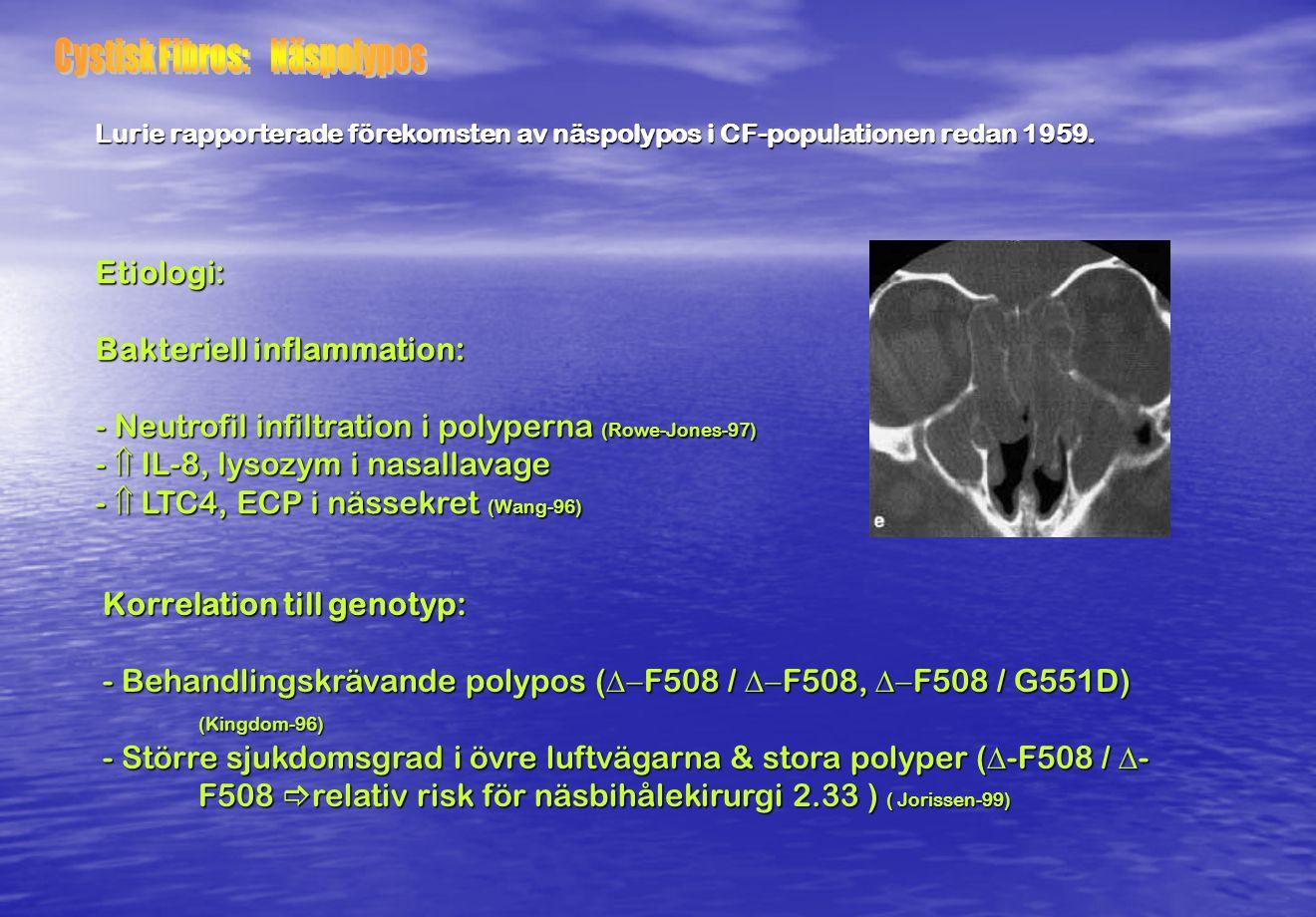Etiologi: Bakteriell inflammation: - Neutrofil infiltration i polyperna (Rowe-Jones-97) -  IL-8, lysozym i nasallavage -  LTC4, ECP i nässekret (Wan