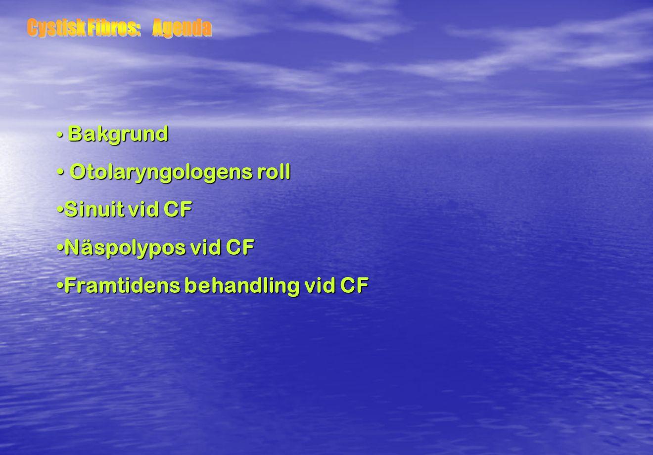 Bakgrund Bakgrund Otolaryngologens roll Otolaryngologens roll Sinuit vid CFSinuit vid CF Näspolypos vid CFNäspolypos vid CF Framtidens behandling vid