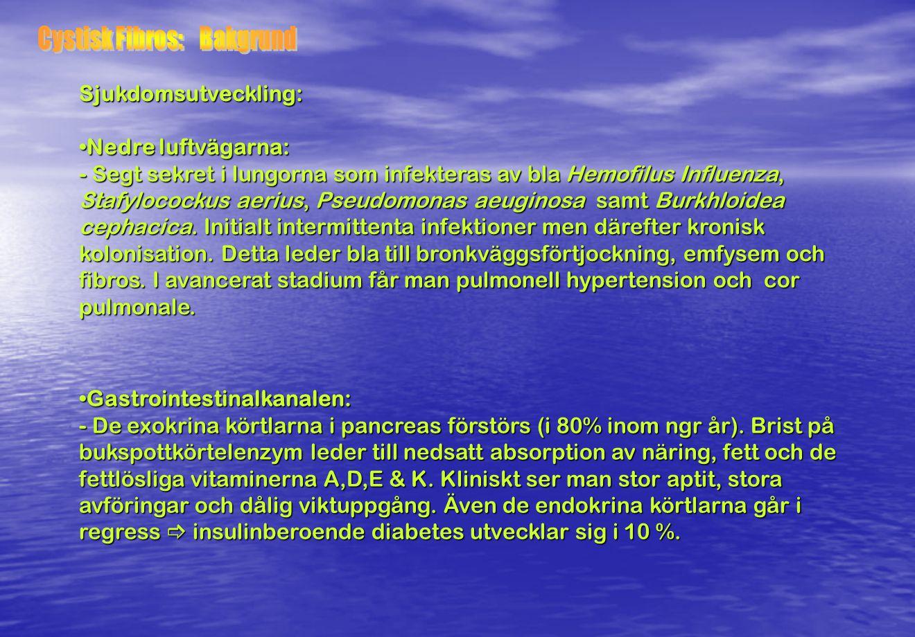 Behandlingsexempel: Läkemedel: Läkemedel: Påverka segt visköst sekret: -Dimtält (NaCl),Andningsgymnastik morgon & kväll / Hostteknik, Slemlösande (Bromhexin /Acetylcystein), DNas (Pulmozyme), Na- resorptionshämmare (Amilorid) Luftrörsvidgande / inflammationshämmande: -B2-stimulerare / inhalationssteroider Antibiotika:-P.o 10-dgrs/långtids (Amoxicillin / Heracillin/ Ciproxin) -I.v./Inhal.