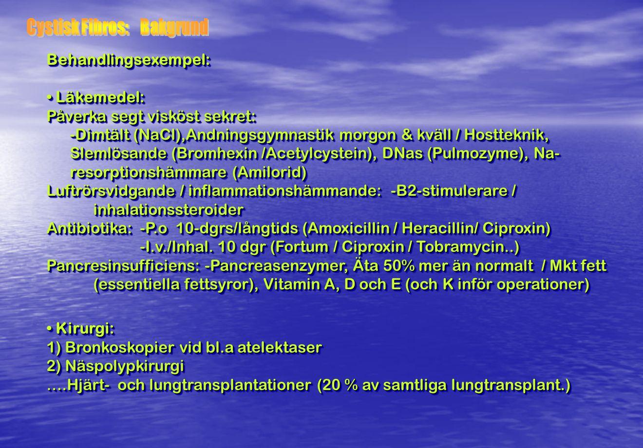 Behandlingsexempel: Läkemedel: Läkemedel: Påverka segt visköst sekret: -Dimtält (NaCl),Andningsgymnastik morgon & kväll / Hostteknik, Slemlösande (Bro