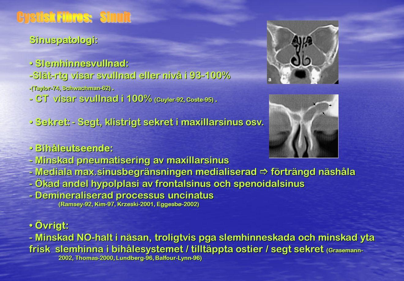 Diagnos: - Svetttest visar ökad kloridsekretion (> 60 mmol/l ) men missar 3-4 % - Hereditet (25% av syskonen riskerar att utveckla sjd) -Genotypning -Klinisk uppföljning t motsatsen är bevisad (1%) Sjukdomsutveckling: 1) Segt sekret i lungorna som infekteras av bla HI / Stafylococker samt Pseudomonas.