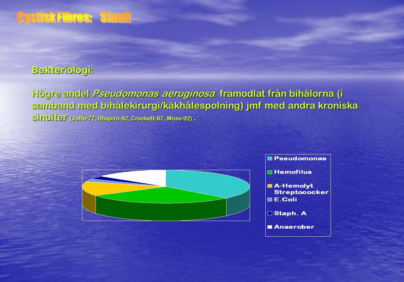 Behandling: - Dimtält (NaCl) - Andningsgymnastik morgon & kväll / Hostteknik - Slemlösande (Bromhexin /Acetylcystein) - Luftrörsvidgande (Bricanyl…) - Antibiotika vid infektioner (P.o Amoxicillin / Heracillin/ Ciproxin..) (I.v.