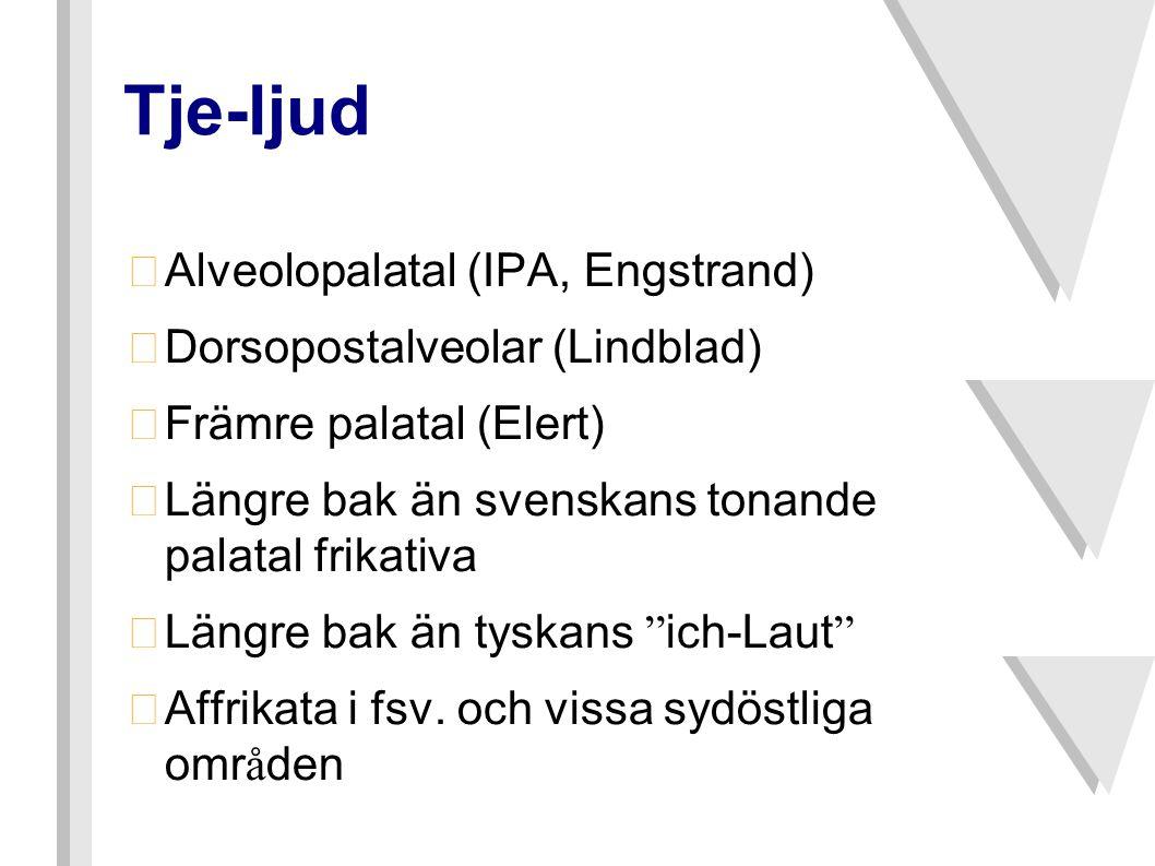 Tje-ljud •Alveolopalatal (IPA, Engstrand) •Dorsopostalveolar (Lindblad) •Främre palatal (Elert) •Längre bak än svenskans tonande palatal frikativa  Längre bak än tyskans ich-Laut  Affrikata i fsv.