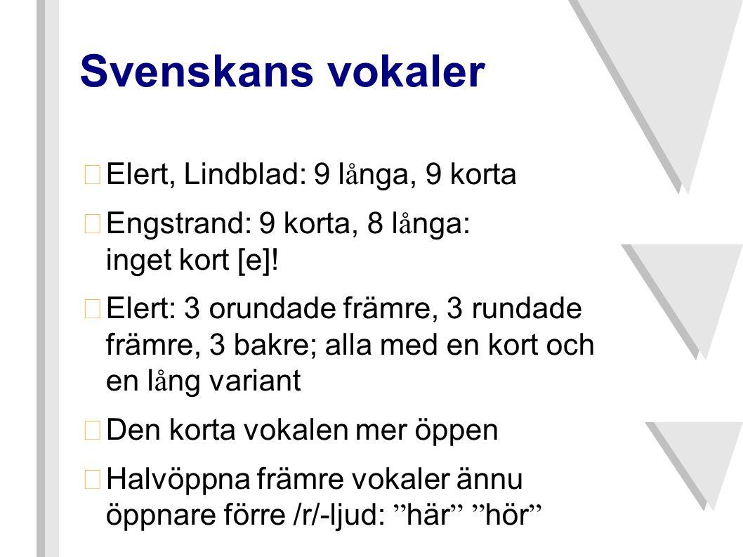 Svenskans vokaler  Elert, Lindblad: 9 l å nga, 9 korta  Engstrand: 9 korta, 8 l å nga: inget kort [e]!  Elert: 3 orundade främre, 3 rundade främre,