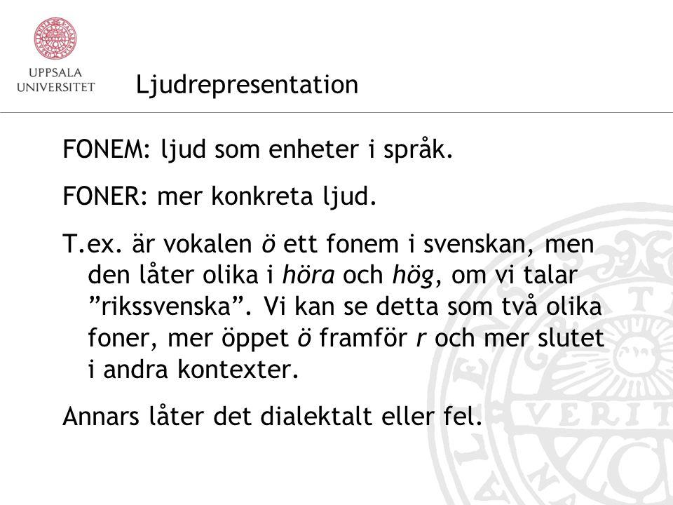 Ljudrepresentation FONEM: ljud som enheter i språk.