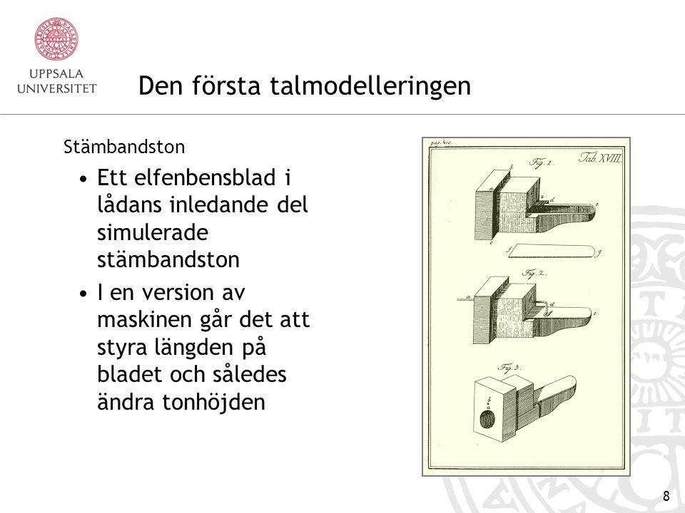 7 Den första talmodelleringen Wolfgang von Kempelens talande maskin Beskrivs 1791 i skriften Mechanismus der menschlichen Sprache nebst der Beschreibung seiner sprechenden Maschine Wien, J.