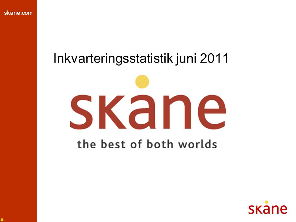skane.com Utveckling gästnätter juni 2011, skånska regioner hotell, stugby, vandrarhem Källa: SCB och Tillväxtverket, bearbetat av HUI Research
