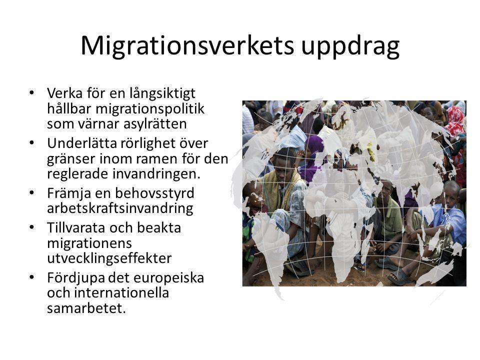 Migrationsverkets uppdrag Verka för en långsiktigt hållbar migrationspolitik som värnar asylrätten Underlätta rörlighet över gränser inom ramen för den reglerade invandringen.