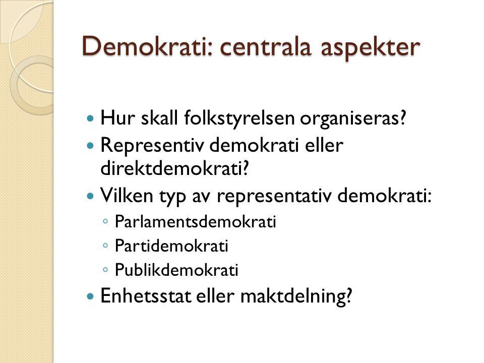 Demokrati: centrala aspekter Hur skall folkstyrelsen organiseras? Representiv demokrati eller direktdemokrati? Vilken typ av representativ demokrati: