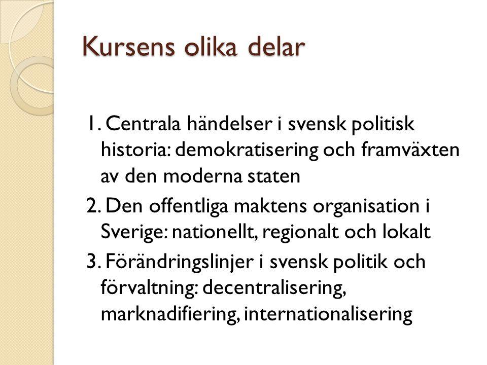Kursens olika delar 1. Centrala händelser i svensk politisk historia: demokratisering och framväxten av den moderna staten 2. Den offentliga maktens o