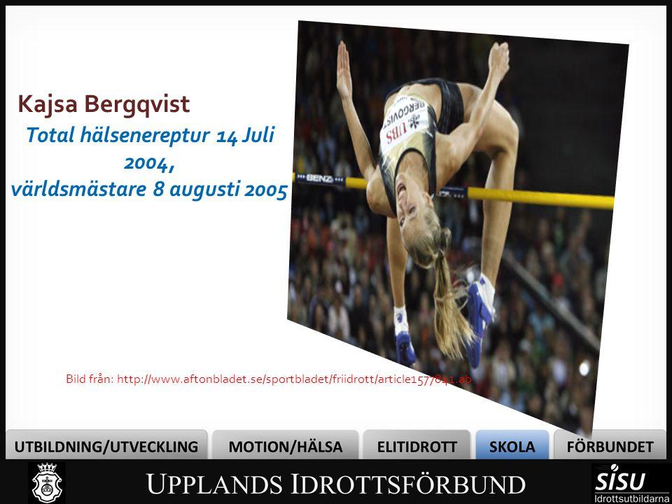 Bild från: http://www.aftonbladet.se/sportbladet/friidrott/article1577841.ab Kajsa Bergqvist Total hälsenereptur 14 Juli 2004, världsmästare 8 augusti