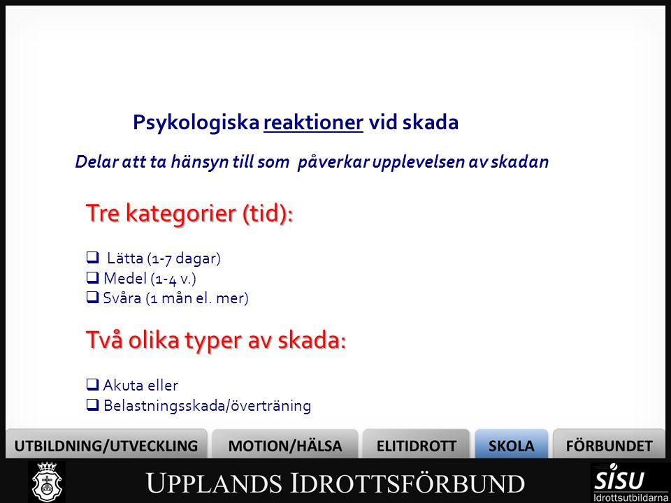 Kognitiv tolkningsmodell av skada (Brewer) Personlighetsfaktorer (Inre) Situationsfaktorer (Yttre) Kognitiv tolkning Känslomässig respons Beteende Psykologiska reaktioner vid skada