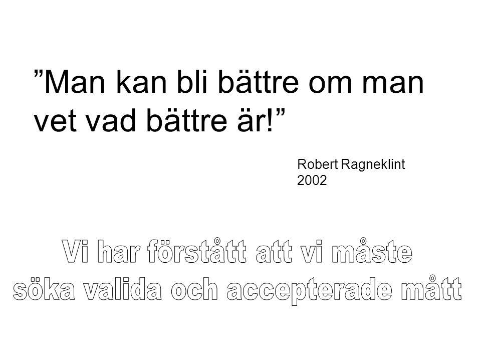 """""""Man kan bli bättre om man vet vad bättre är!"""" Robert Ragneklint 2002"""
