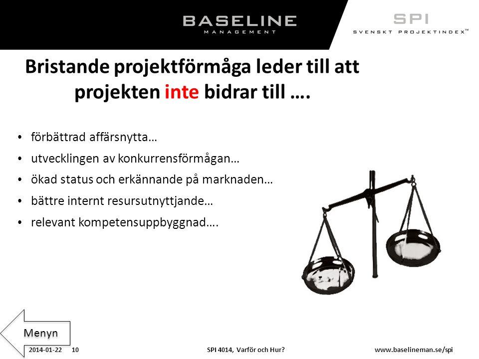 SPI 4014, Varför och Hur?2014-01-22 10www.baselineman.se/spi Bristande projektförmåga leder till att projekten inte bidrar till …. förbättrad affärsny