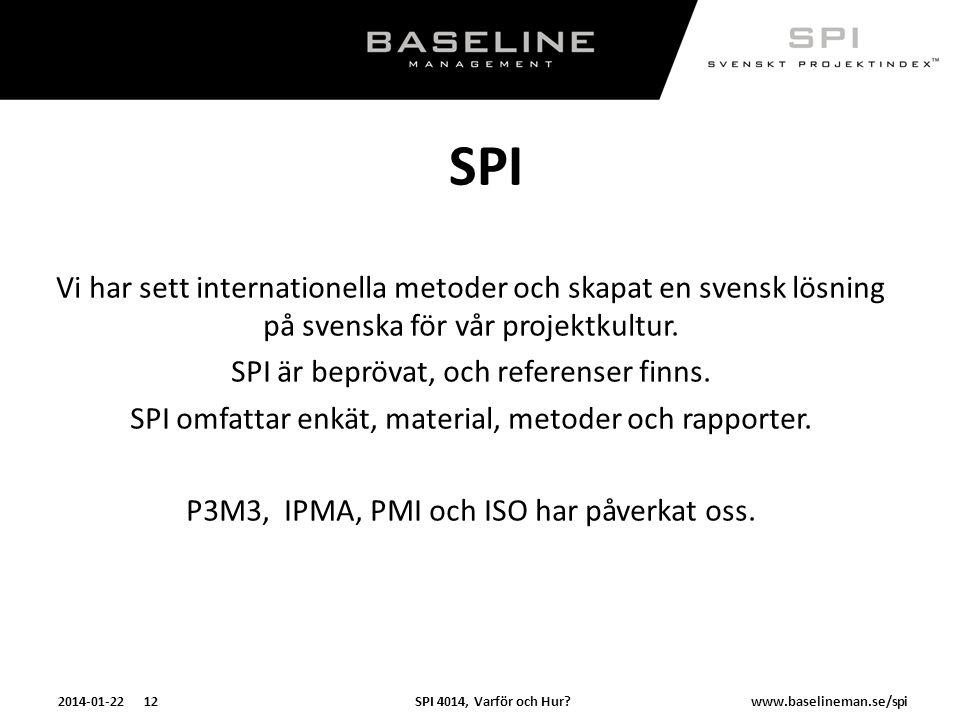 SPI 4014, Varför och Hur?2014-01-22 12www.baselineman.se/spi SPI Vi har sett internationella metoder och skapat en svensk lösning på svenska för vår p
