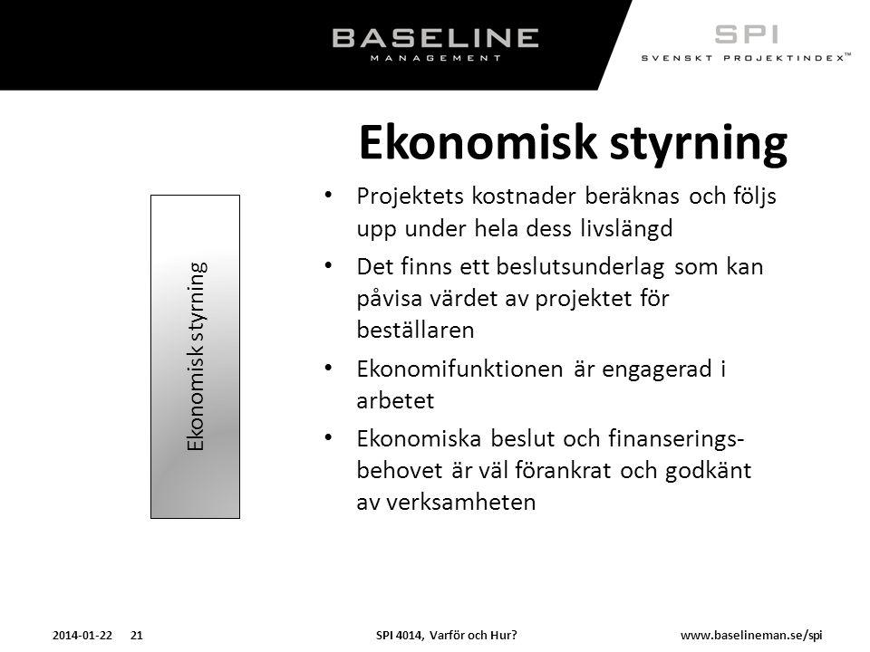 SPI 4014, Varför och Hur?2014-01-22 21www.baselineman.se/spi Ekonomisk styrning Projektets kostnader beräknas och följs upp under hela dess livslängd