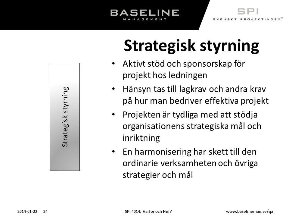 SPI 4014, Varför och Hur?2014-01-22 24www.baselineman.se/spi Strategisk styrning Aktivt stöd och sponsorskap för projekt hos ledningen Hänsyn tas till