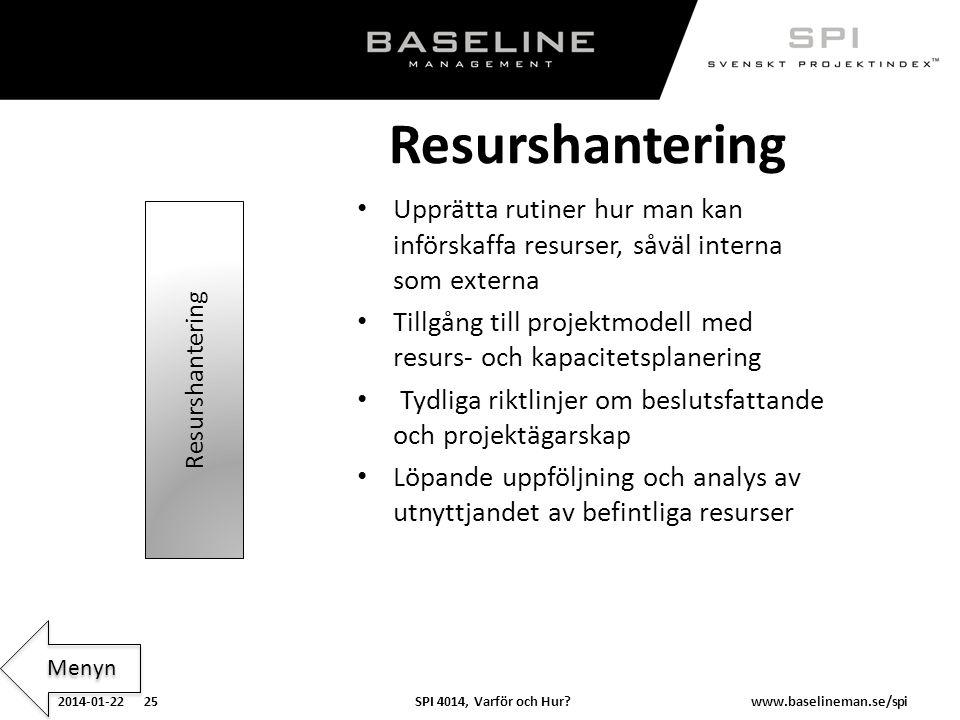 SPI 4014, Varför och Hur?2014-01-22 25www.baselineman.se/spi Resurshantering Upprätta rutiner hur man kan införskaffa resurser, såväl interna som exte
