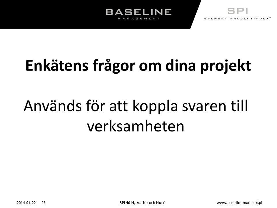 SPI 4014, Varför och Hur?2014-01-22 26www.baselineman.se/spi Enkätens frågor om dina projekt Används för att koppla svaren till verksamheten