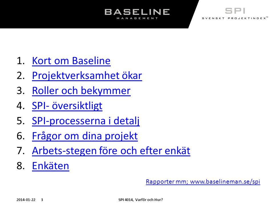 SPI 4014, Varför och Hur?2014-01-22 3 1.Kort om BaselineKort om Baseline 2.Projektverksamhet ökarProjektverksamhet ökar 3.Roller och bekymmerRoller oc