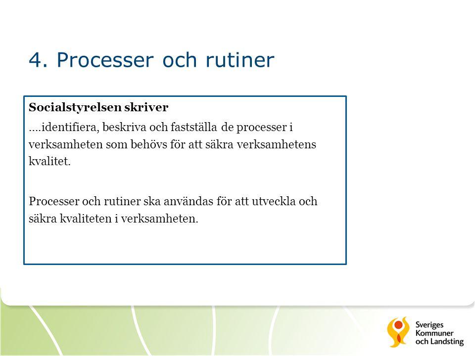 4. Processer och rutiner Socialstyrelsen skriver ….identifiera, beskriva och fastställa de processer i verksamheten som behövs för att säkra verksamhe
