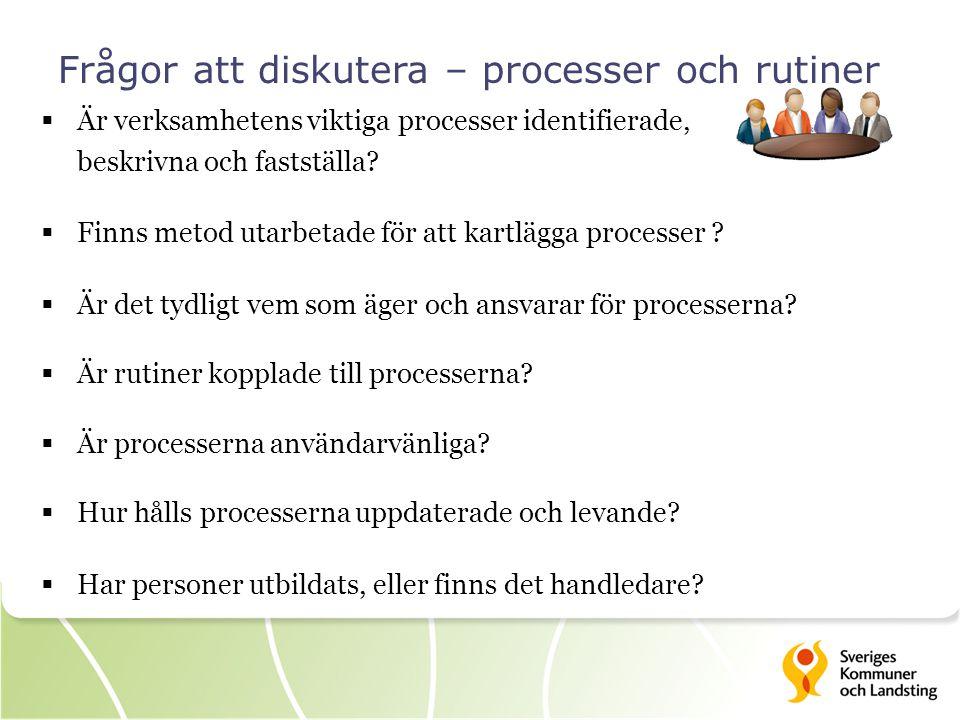 Frågor att diskutera – processer och rutiner  Är verksamhetens viktiga processer identifierade, beskrivna och fastställa?  Finns metod utarbetade fö