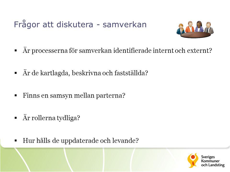 Frågor att diskutera - samverkan  Är processerna för samverkan identifierade internt och externt?  Är de kartlagda, beskrivna och fastställda?  Fin