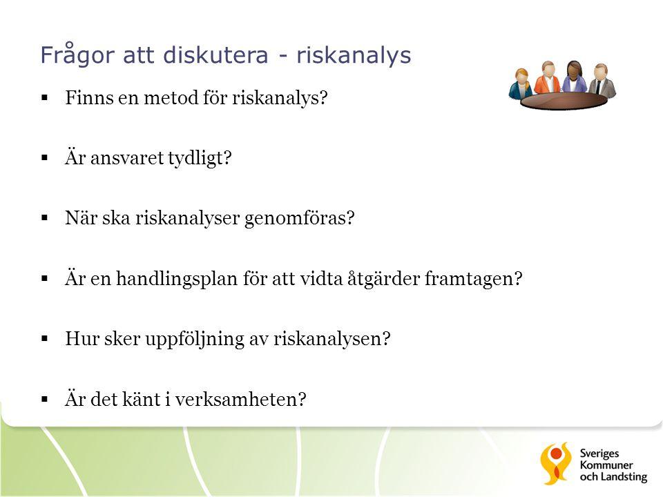 Frågor att diskutera - riskanalys  Finns en metod för riskanalys.