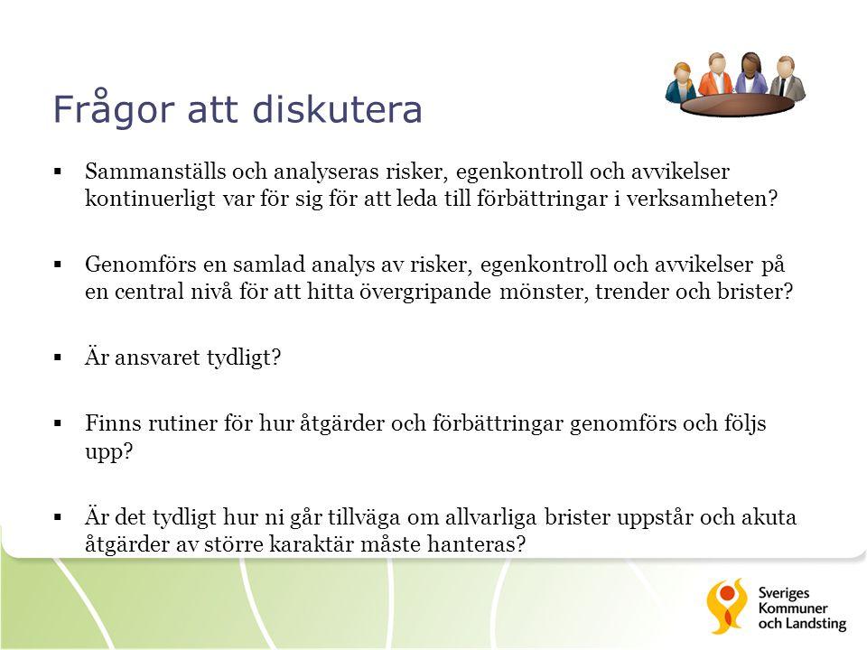 Frågor att diskutera  Sammanställs och analyseras risker, egenkontroll och avvikelser kontinuerligt var för sig för att leda till förbättringar i verksamheten.
