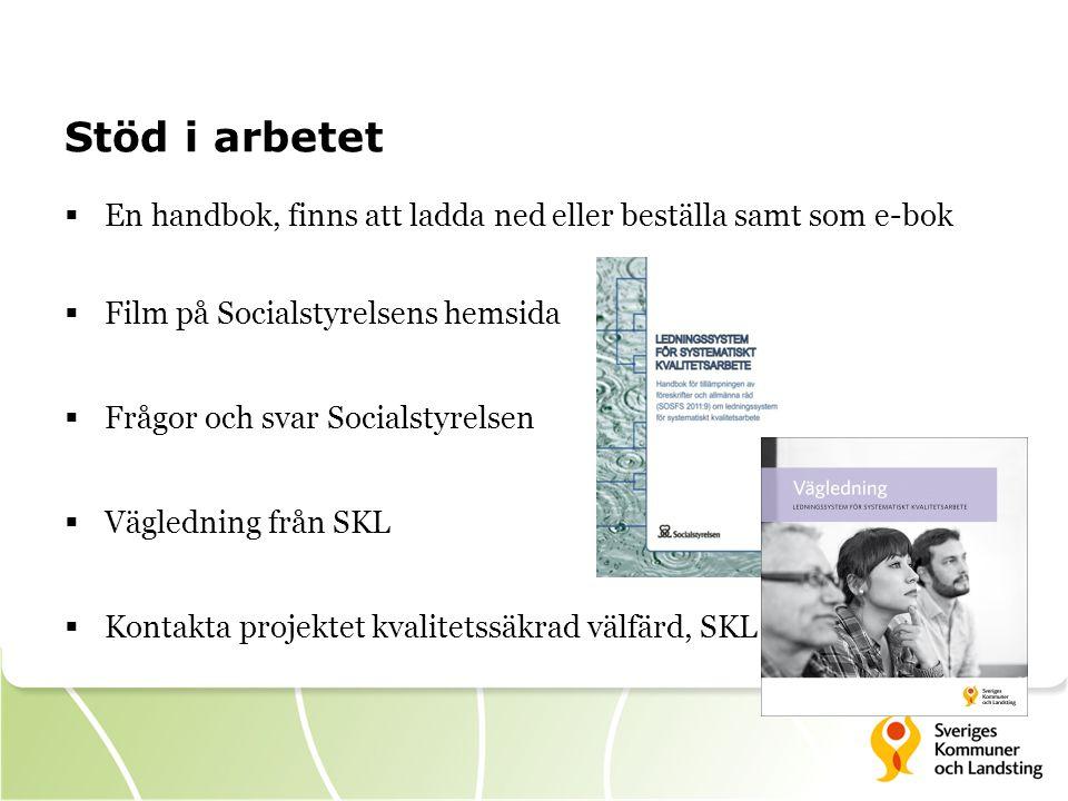 Stöd i arbetet  En handbok, finns att ladda ned eller beställa samt som e-bok  Film på Socialstyrelsens hemsida  Frågor och svar Socialstyrelsen 