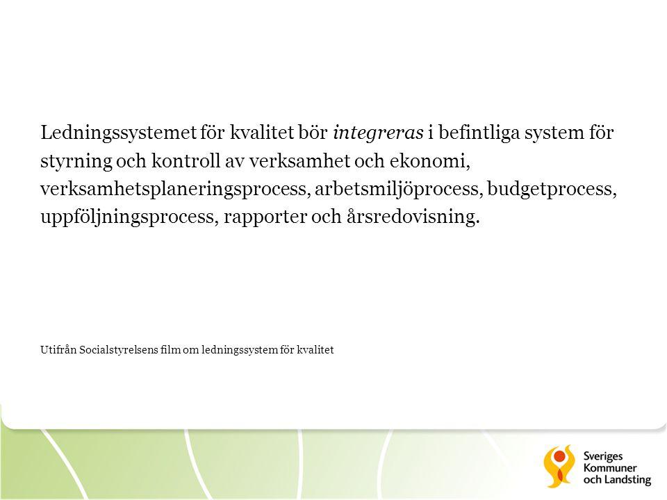 Ledningssystemet för kvalitet bör integreras i befintliga system för styrning och kontroll av verksamhet och ekonomi, verksamhetsplaneringsprocess, ar