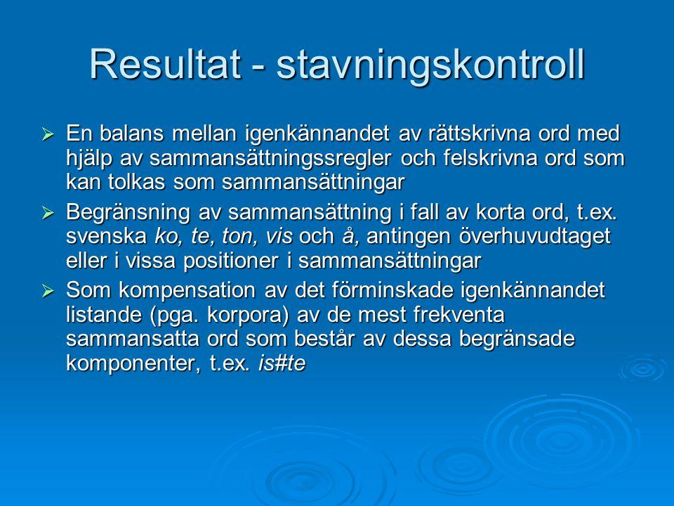 Resultat - stavningskontroll  En balans mellan igenkännandet av rättskrivna ord med hjälp av sammansättningssregler och felskrivna ord som kan tolkas